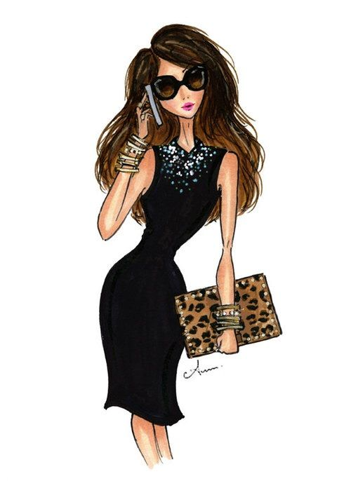 Image via We Heart It #animalprint #art #glitter #gold #illustration #littleblackdress #Queen #sunglasses