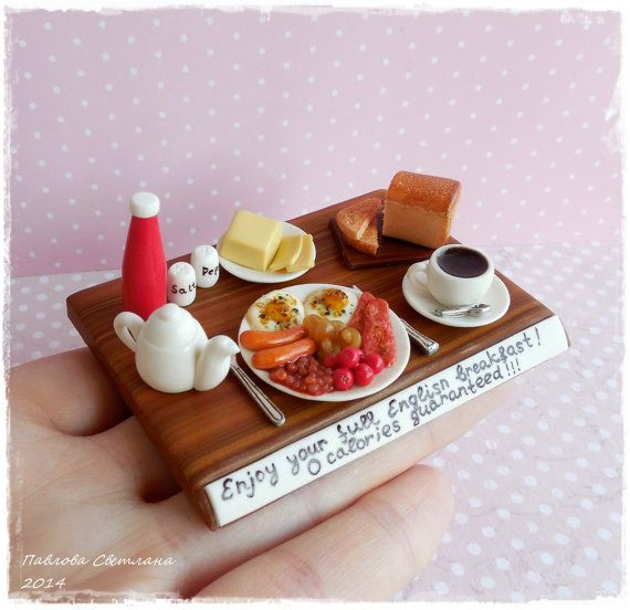 The littlest breakfast in bed. | 19 Heartbreakingly Adorable Food Miniatures You Can Buy