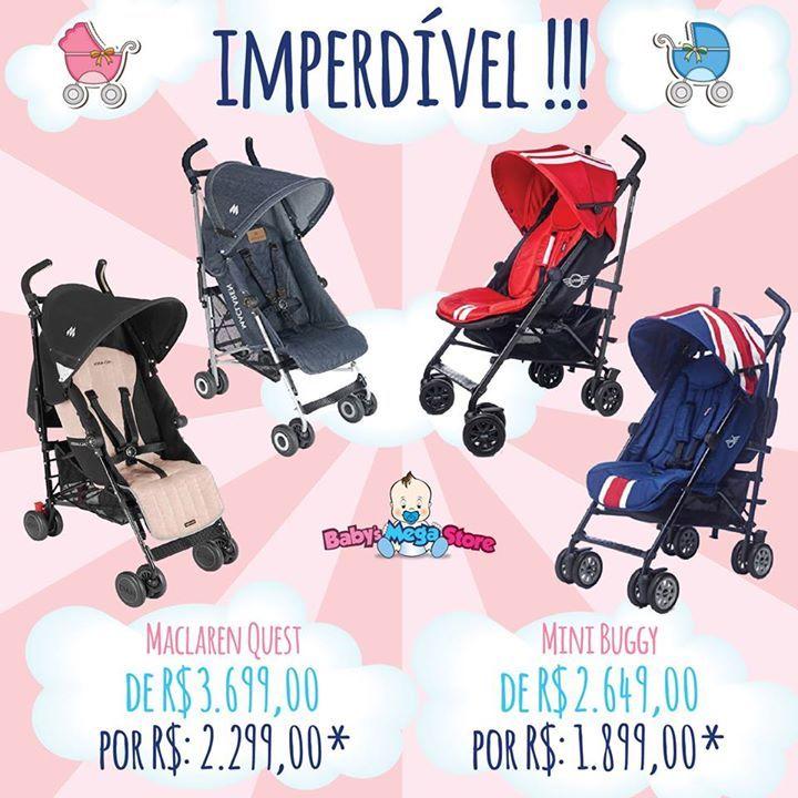 💥 Super Promoção de Carrinhos na Baby´s💥!!! Chegou a hora de comprar o carrinho de passeio 🚼 do seu bebê com o estilo e a qualidade que você sempre sonhou💕!  😜 Carrinho de passeio Maclaren Quest de R$ 3.699,00 por R$: 2.299,00* e Carrinho de passeio Mini Buggy de R$ 2.649,00 por R$ 1.899,00*.  ✅ O Carrinho de Passeio Maclaren Quest 🔝 é indicado para crianças a partir dos 3 meses e com peso de até 15 quilos, possui quatro posições de encosto e tem suporte extensor para as pernas. Tem…