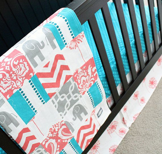 Custom Crib bedding - Coral, Grey and Turquoise Baby Bedding on Etsy, $245.00