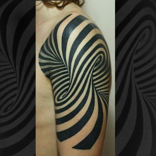 Optical illusion tattoos are trending all over the web. This was one of the first to go viral when it was shared by Lady Gaga. Done by Dmitriy Urban.