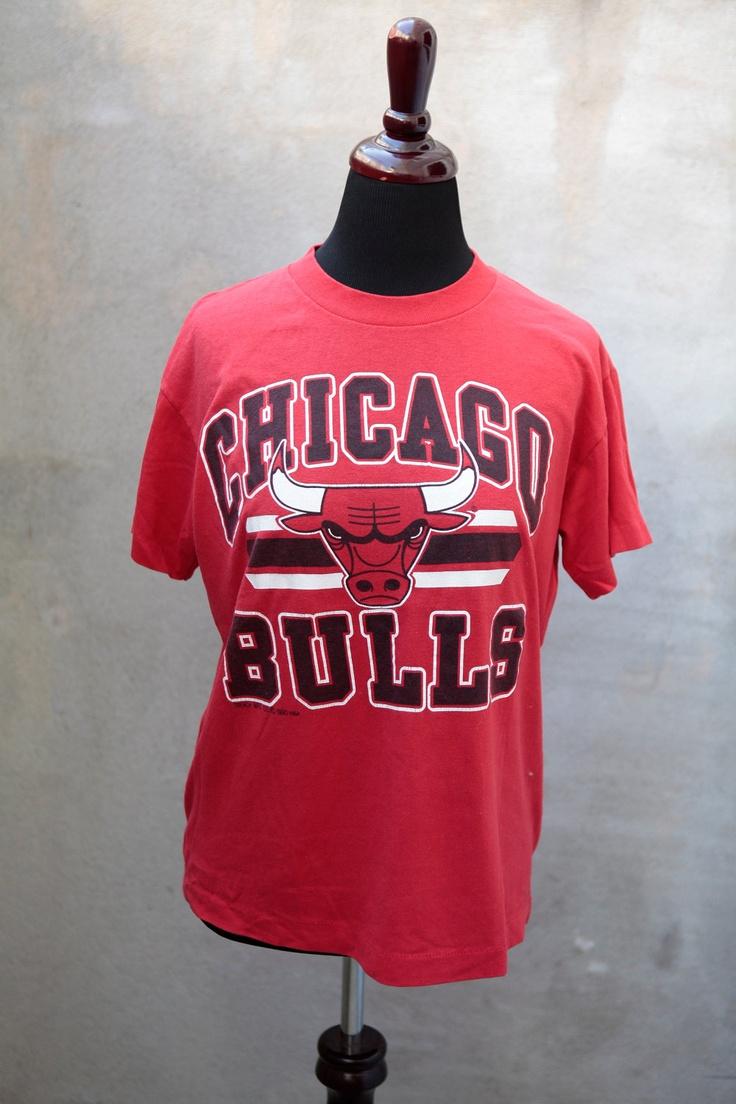 vintage Chicago Bulls t-shirt 1990 NBA Michael Jordan Scottie Pippen size M medium. $20.00, via Etsy.