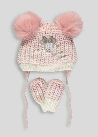 f4b433cd4d132 Unisex Disney Minnie Mouse Bobble Hat & Mittens Set (Newborn-23mths)