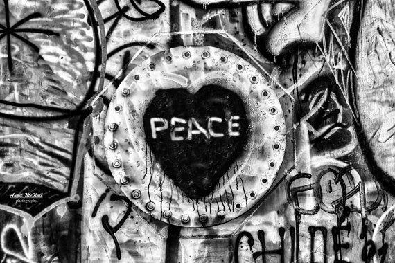 Peace Black and White Heart Graffiti Fine Art by AngelMcNall, $35.00