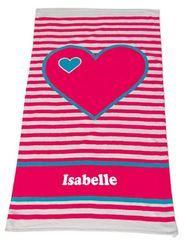Personalised Beach Towel Hearts Aqua http://teddybearsandgifts.com.au/beach-towel-hearts-aqua/
