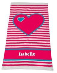 Beach Towel Hearts Aqua