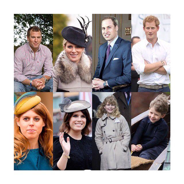 The eight grandchildren of Queen Elizabeth II. (Top: left to right) Peter Philips, Zara Philips Prince William of Wales (later Duke of Cambridge) Prince Henry of Wales. (Bottom: left to right) Princess Beatrice of York, Princess Eugenie of York, Lady Louise Mountbatten-Windsor, James Mountbatten-Windsor, Viscount Severn.