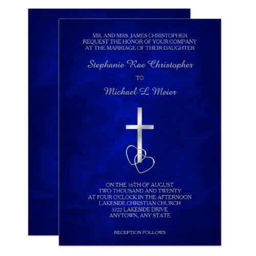 Blue Silver Christian Cross Wedding Invitation | Zazzle com