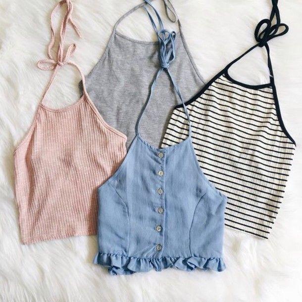 Shirt: halter crop top halter top crop tops striped top summer top denim top chambray pink top grey