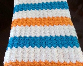 Crochet Baby Blanket Baby Boy Blanket Baby Girl Blanket Miami Dolphin Nursery Decor Blue White Orange Blanket Car Seat Blanket Photo Prop