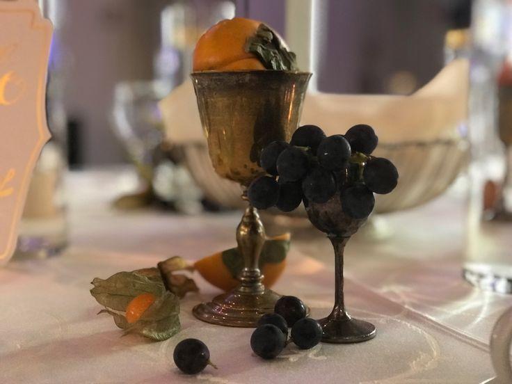 Subtle touches of fruit and vintage goblets. #wedding #centerpiece #fruit #decor #vintage #elegant
