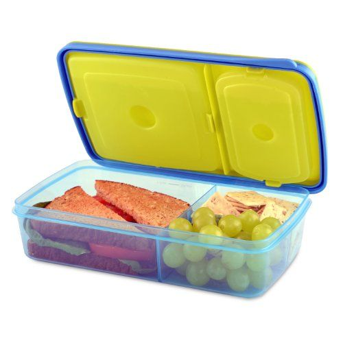 Fit & Fresh Kids' Reusable Divided Meal Carrier with Removable Ice Packs, Bento Box Lunch Container with 3 Food Storage Compartments, BPA-Free, Microwave/Dishwasher Safe - The whole lunch fits safely into this container, with dividers to keep your child's sandwich and two snacks separately. It will all stay chilled with the two ice packs that can be snapped into the lid. The container is BPA free and the ice pack is non-toxic. The meal carrier features a newly desi...