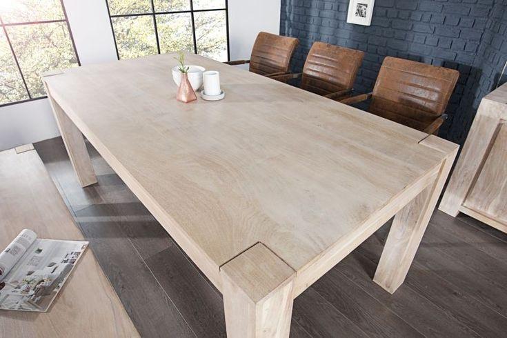 Stół drewniany (200 cm) bielona akacja