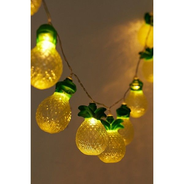 Pineapple String Lights ($28) ❤ liked on Polyvore featuring home, outdoors, outdoor lighting, urban outfitters, outside party lights, outdoor string lights, outdoor party lights and outdoor yard lights