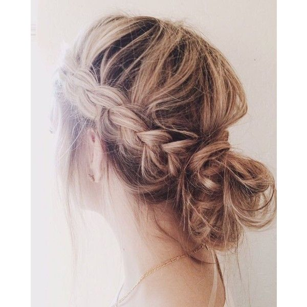 25 beautiful cute messy buns ideas on pinterest messy buns braided messy buns liked on polyvore featuring beauty products haircare hair styling tools boho hairstylesmessy braided hairstylescute urmus Image collections