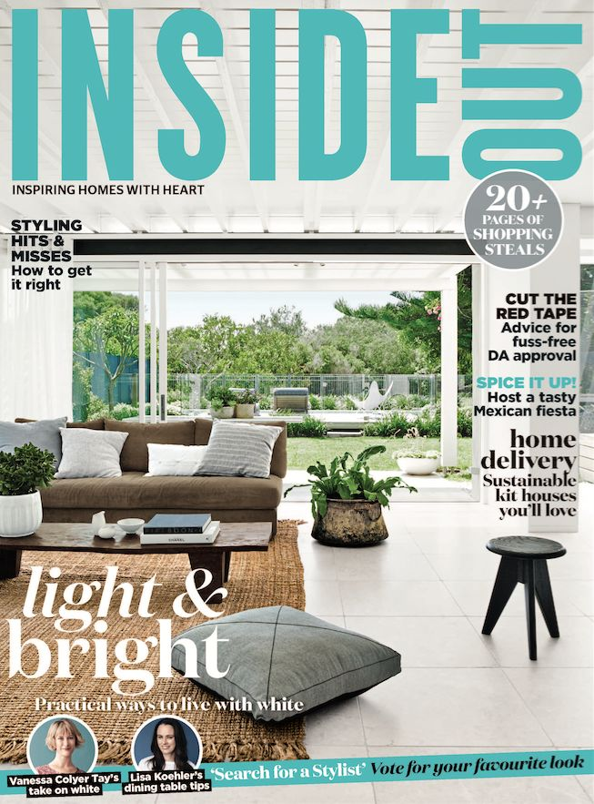 The cover of the August 2016 issue of Inside Out magazine. Styling by Claire Delmar. Photography by Prue Ruscoe. Available from newsagents, Zinio, https://au.zinio.com/magazine/Inside-Out-/pr-500646627/cat-cat1680012#/, Google Play, https://play.google.com/store/newsstand/details/Inside_Out?id=CAowu8qZAQ, Apple's Newsstand,https://play.google.com/store/newsstand/details/Inside_Out?id=CAowu8qZAQ, and Nook.
