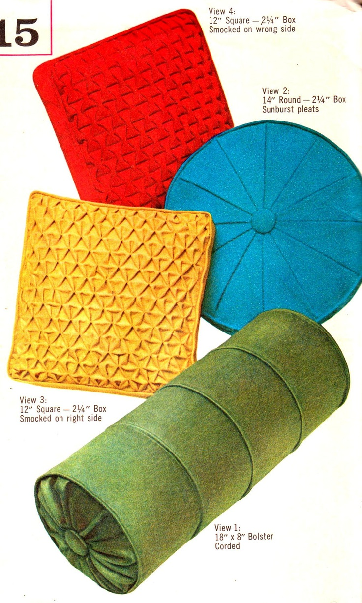 Vintage 1960s Pillow Patterns for Smocked, Pleated and Corded Pillows Simplicity 4515 UNCUT ...