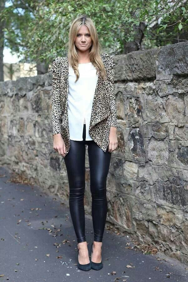 Animal print+ leather leggins