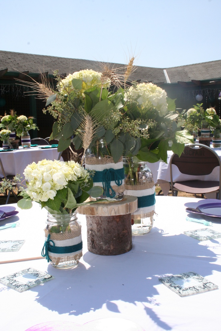 Mason jars burlap white hydrangea centerpieces my