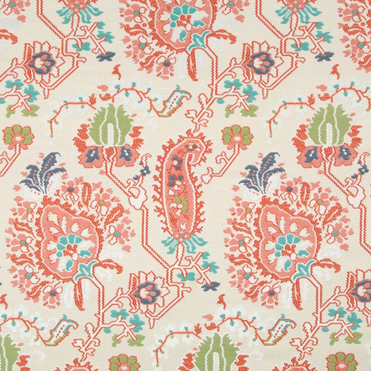 Coral Upholstery Fabric Modern Aqua Orange Abstract Home