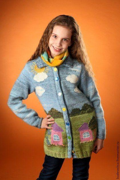 Одежда для девочек, ручной работы. Ярмарка Мастеров - ручная работа. Купить Кардиган с пейзажем для девочки-подростка. Handmade. Разноцветный