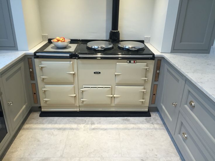 Cream AGA with Grey marble floor and oak insert chopping boards / trays