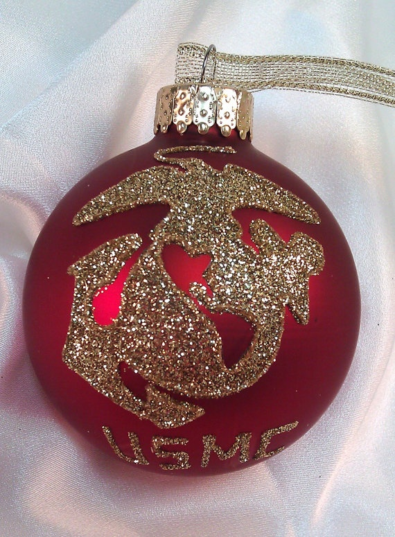 Personalized US Marine Corps Glass Ball Ornament by GlitterOrnaments, $18.00
