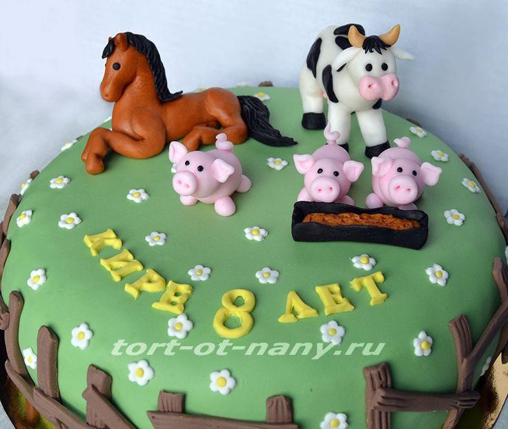 """Торт """"Ферма"""" с лошадкой, коровой и поросятами"""