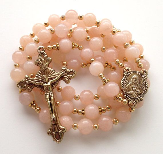 Pink Aventurine Rosary, Sacred Heart of Jesus, Catholic Rosary, Natural Pink Aventurine, Antiqued Gold Crucifix, Handmade Rosary on Etsy, $60.00