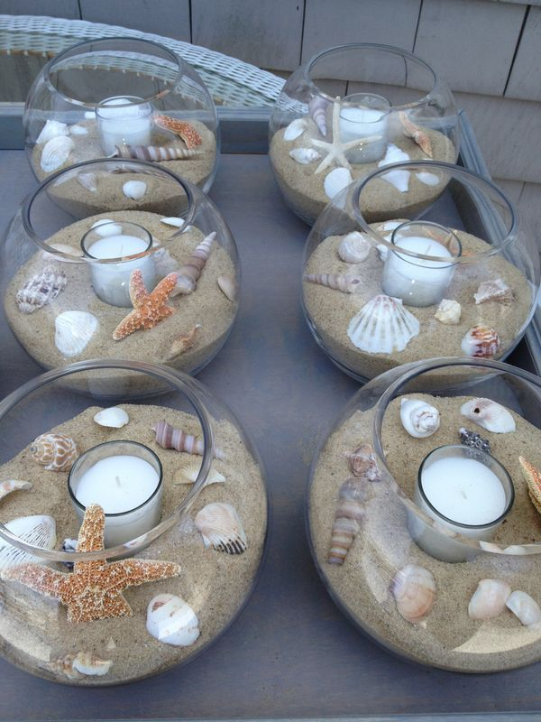 diy beach theme wedding centerpieces%0A    centros de mesa para bodas  consigue una boda de cuento  Beach  Centerpiece WeddingBeach Table DecorationsBeach