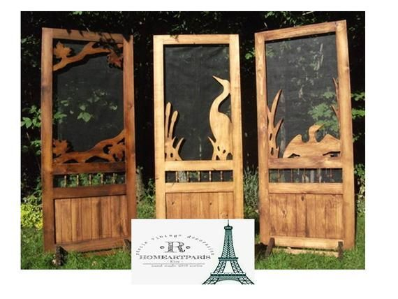 Screen Door Rustic Wood Carving Entrance Door Animals Embroidered