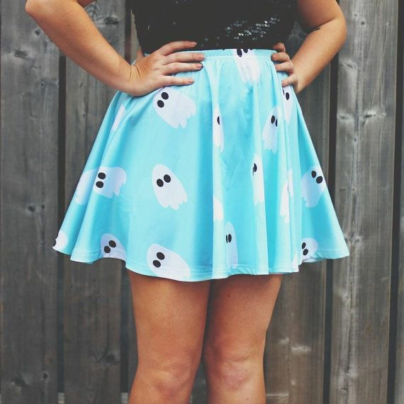 PREORDER  Marshmallow Ghosties Skater Skirt by starryeyedbowtique