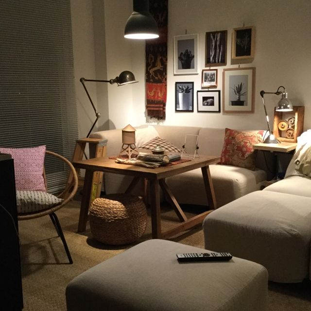 piyohopさんの、ソファー,無印良品,照明,ポスター,額,IKEA,ソファ,キリム,ライティング,男前,のお部屋写真