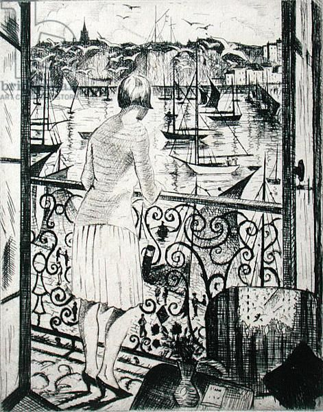 """""""The Balcony"""" by Eric Ravilious, c.1920s (etching)"""
