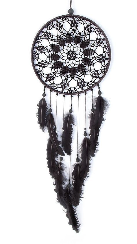 Large Black Dream Catcher Crochet Doily por DreamcatchersUA en Etsy