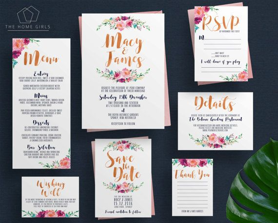 Wedding Invitation Suite Floral Navy and by TheHomeGirlsEtsy