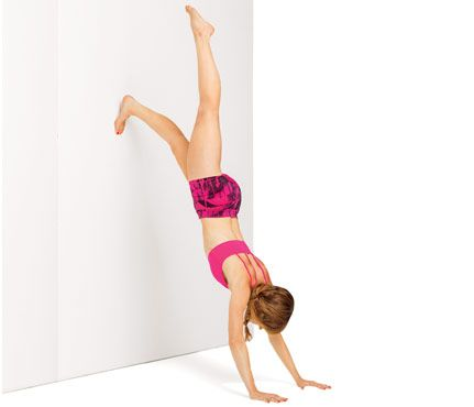 Tone Your Whole Bod With a Wall: Start in a handstand with feet on wall. Engage abs and move right leg away from wall (as shown); return foot to wall. Switch sides; repeat for 1 rep. Do 20 reps. Works shoulders, abs, butt #SelfMagazine