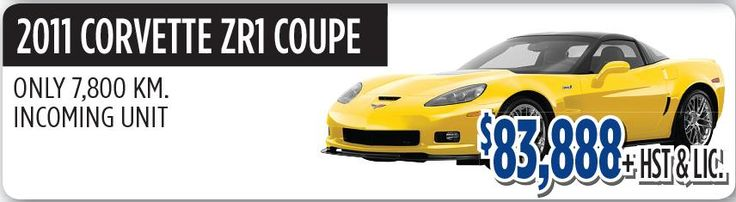 2011 Corvette ZR1 Coupe with Only 7,800 KM Incoming Out, Yellow Exterior and Grey Interior Color is available for sale in Toronto, Canada at reasonable budget $ 83,888+HST&LIC.