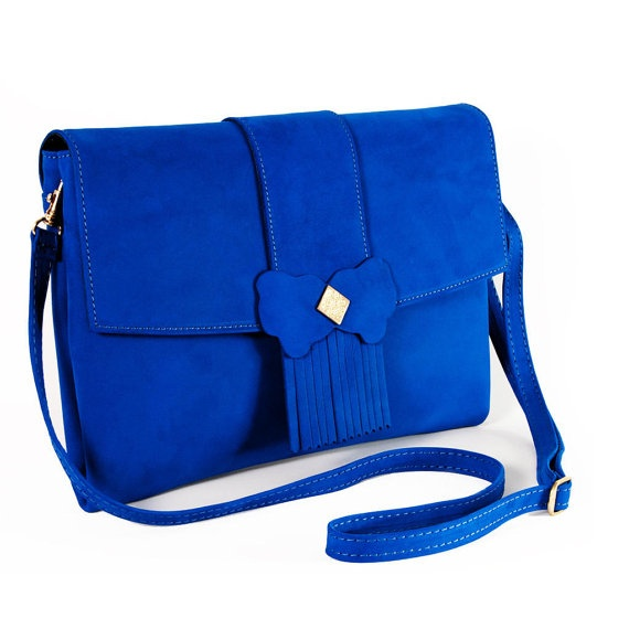 Blue leather handbag  Blue Morpho Handmade Leather by MonaTunas, $95.00 || available, click thru to purchase | If the blue is true, then that is a damn good bag