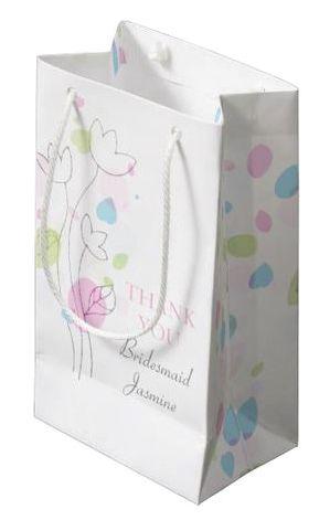 Confetti petals wedding personalized Bridesmaid favor small gift bag. Art and design by www.sarahtrett.com