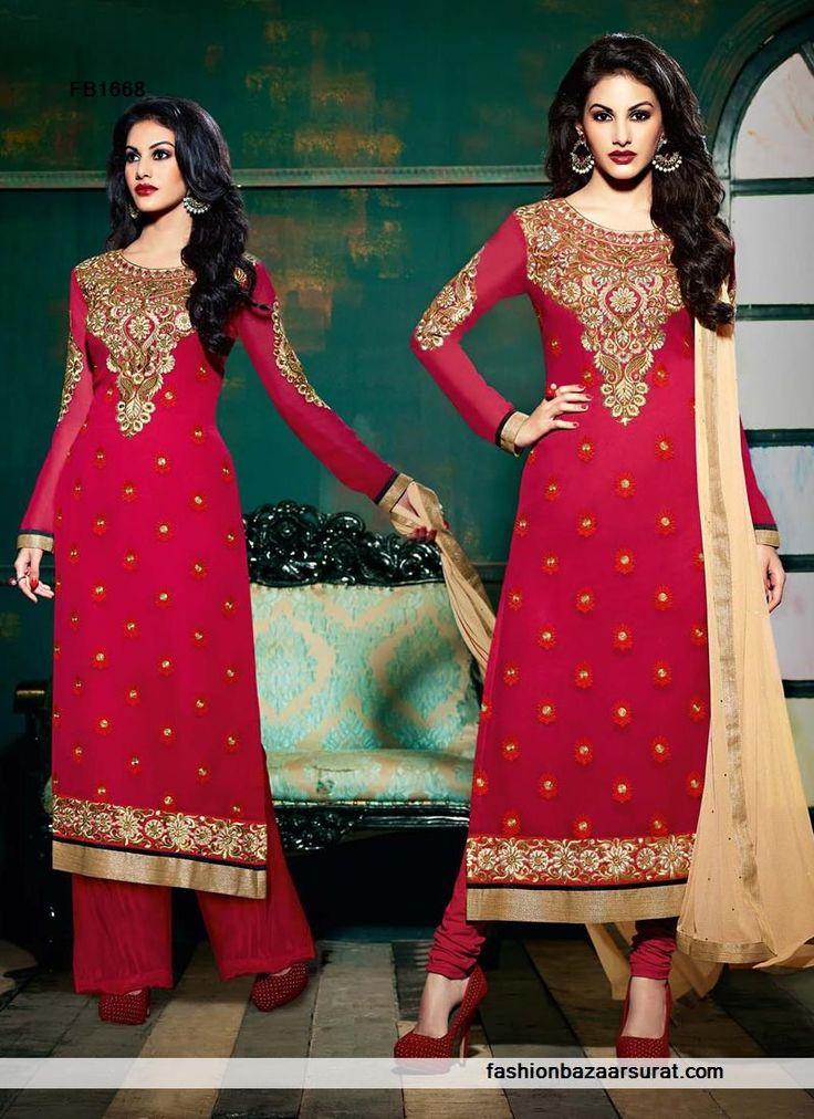 Designer Red Straight Suit