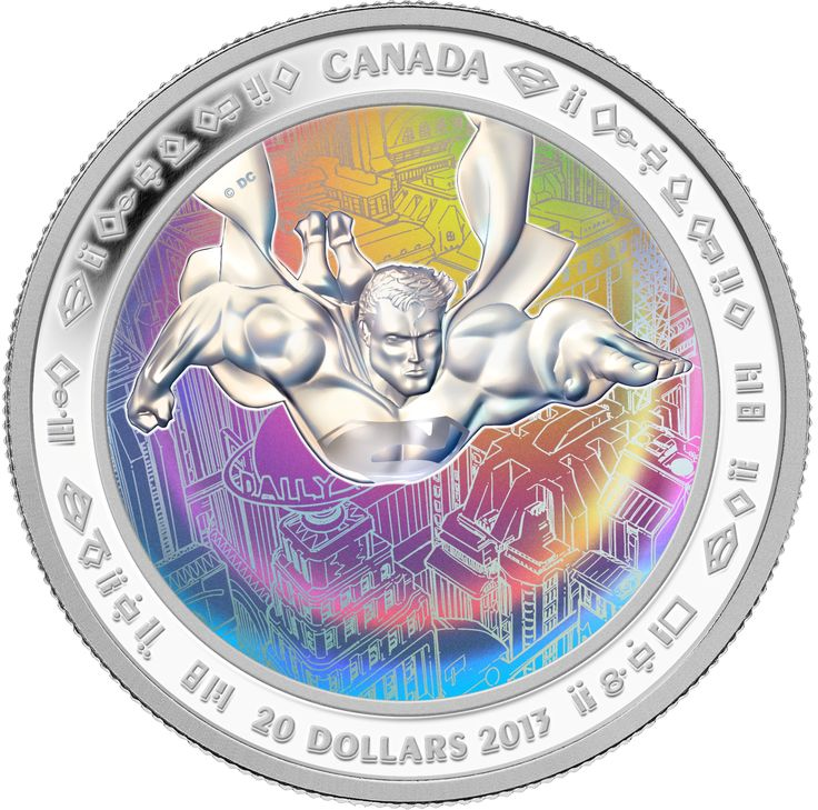 The first achromatic hologram. 1 oz $20 Fine Silver Hologram Coin - Superman™ & Metropolis - Mintage: 10,000 (2013). On September 9, 2013, the Mint unveiled seven new collector coins in celebration of the 75th anniversary of Superman.