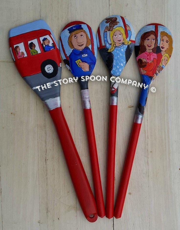 The Wheels on The Bus Nursery Rhyme Story Spoons