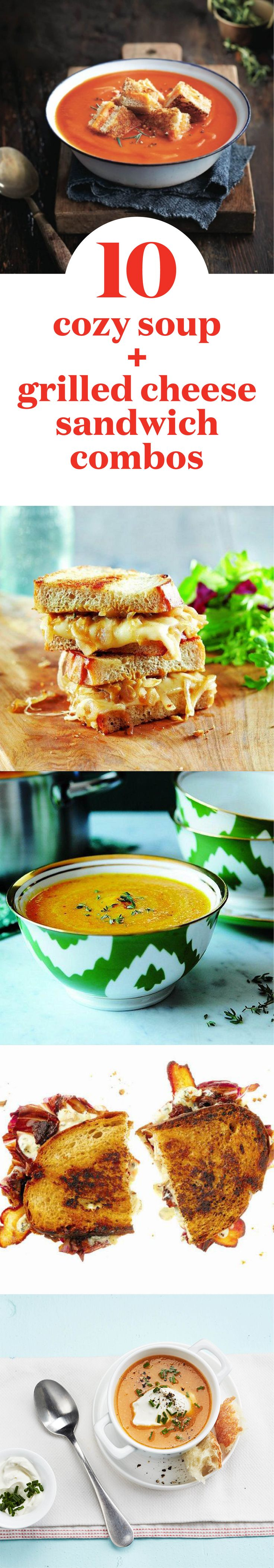 10 cozy soup and grilled cheese sandwich combos | There's nothing quite as comforting as this hot and delicious pairing. #NationalGrilledCheeseDay