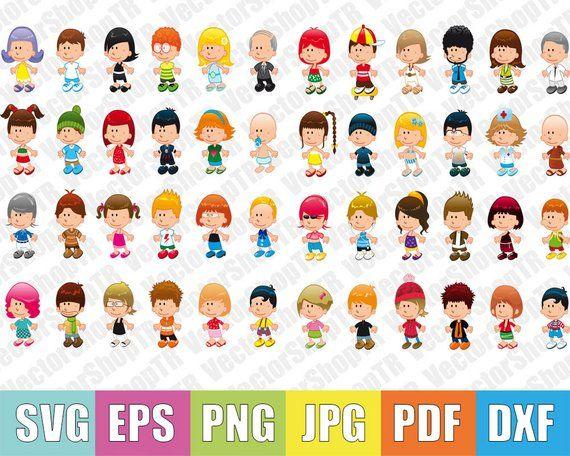 Cute child cartoon 48pcs, svg, png, pdf, jpg, eps, dxf, t-shirt, clipart