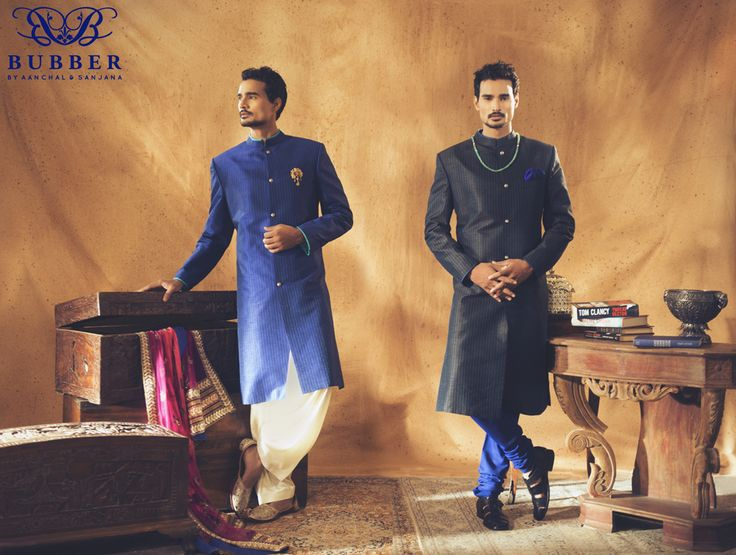 Blue & Black Linear Stripe Sherwani With A Patiala Salwar & Contrast Blue Churidar By Bubber Couture   #blue #black #creme #sherwani #patiala #salwar #churidar #subtle #classic #meanswear #womenswear #indianwear #indiandesigner #indianfashion