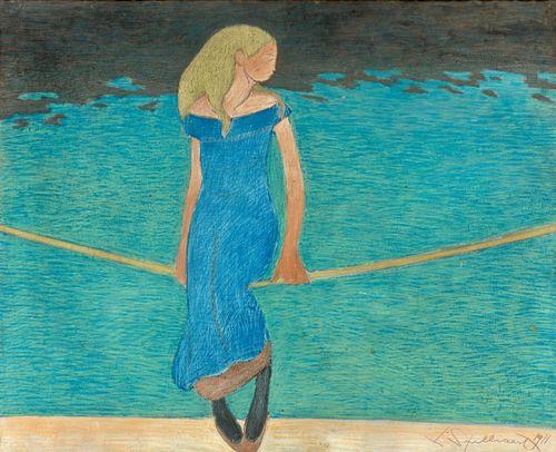 Léon Spilliaert (Belgian, 1881-1946), Jeune fille à la corde, 1911. Gouache and pastel on paper, 56 x 70 cm.