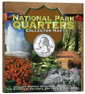 National Park Quarters Collector Map This Whitman Quarter Map Includes Historic Sites In All 50 States