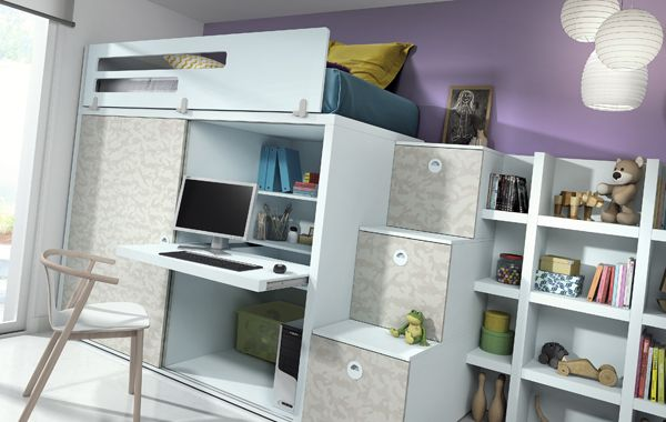 #Dormitorio en Azul Nube y Camuflaje #Armario de dos puertas correderas con tapa #escritorio extraíble #mobiliariojuvenil #juvenil #diseñosmodernos #diseñospracticos #diseñosdivertidos