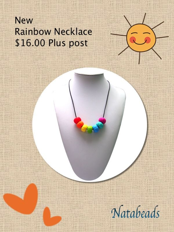Rainbow Silicone Teething Necklace Available at www.facebook.com/Natabeads